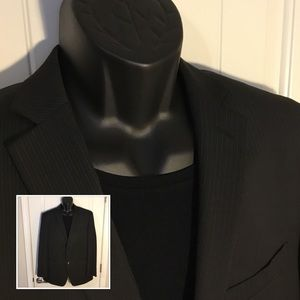 Joe Joseph Abboud Black Pinstriped Blazer 42R